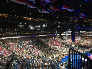 The Wells Fargo Center is all decked out in Red, White and Blue for the DNC.