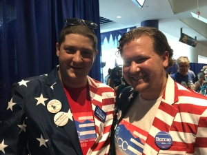 Gary Mannion (left) and Jim Blatchford (right) slipped into their most patriotic attire for the DNC.
