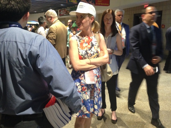 """This woman's hat reads, """"Make America Read Again."""""""