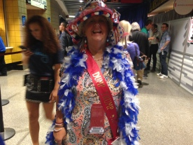 """Connecticut Delegate decked out in """"Dump Trump"""" wear."""