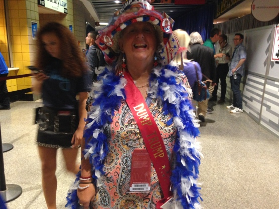 "Connecticut Delegate decked out in ""Dump Trump"" wear."